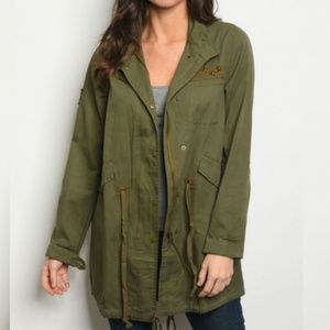 Jackets & Blazers - Classic Patch Detail Anorak Jacket- Army Green